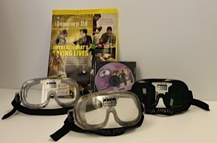 Sets of goggle and reading material