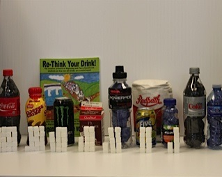 A variety of beverages and their sugar content