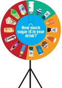 Spinning wheel game with images of beverages