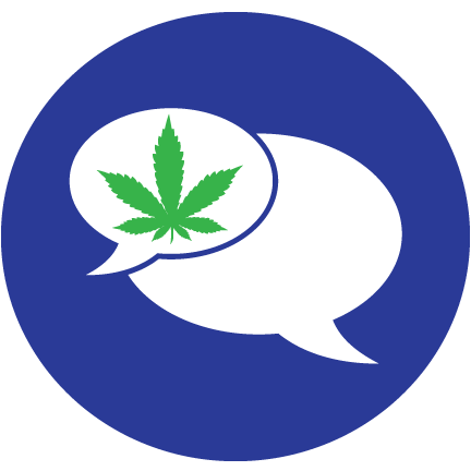 speech bubble cannabis leaf