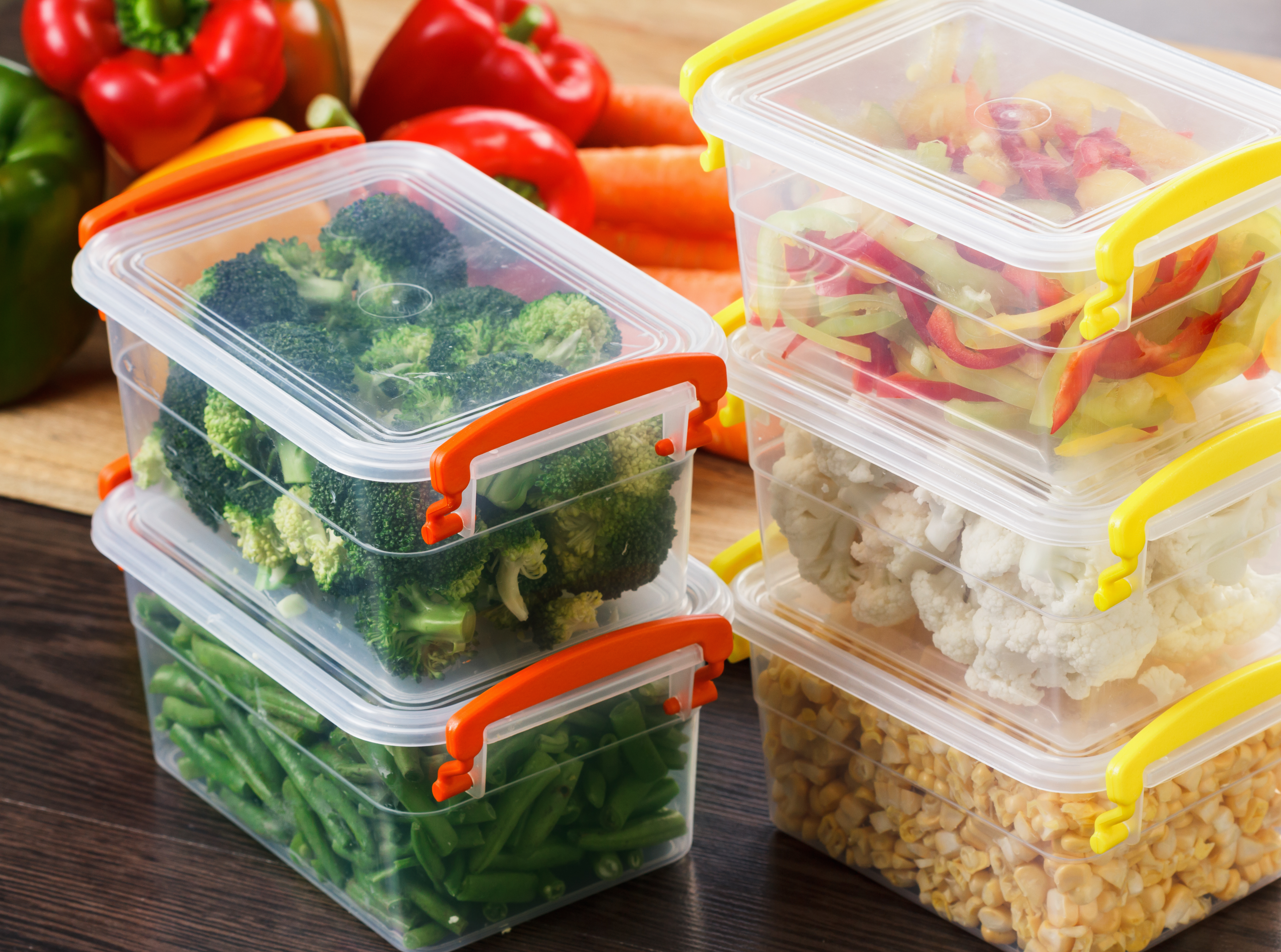 vegetables in containers read to be frozen