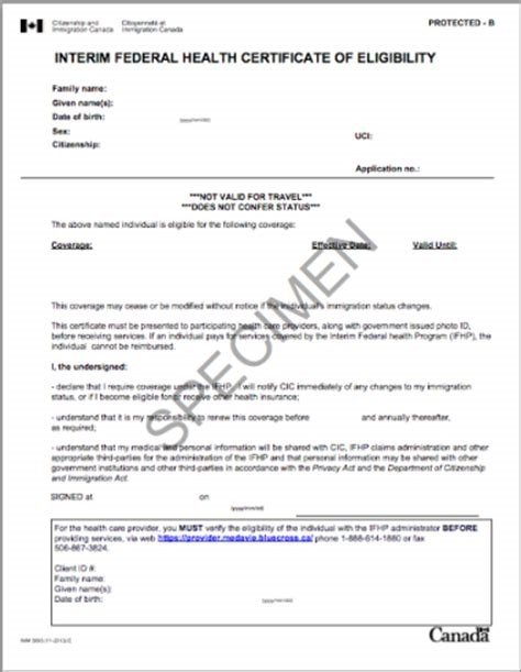 Example Interim Federal Health Program Certificate of Eligibility