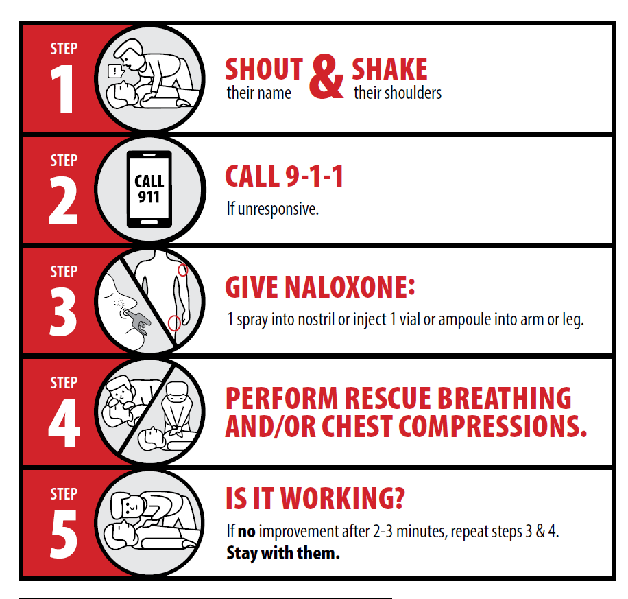 1 Shout and shake 2 call 911 3 give naloxone 4 chest compressions 5 if not working repeat steps 3 and 4
