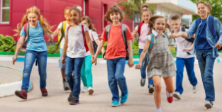 group of children walking to school